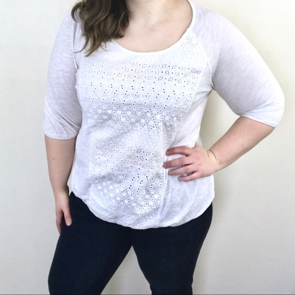25d6fa865c0e6 Lucky Brand Tops - Lucky Brand White Lace Blouse - Plus Size 1X